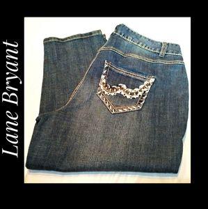 Lane Bryant Zip Front 5 Pocket Crop Jeans Size 14